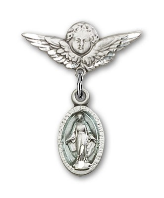 Pin Badge with Blue Miraculous Charm and Angel with Smaller Wings Badge Pin - Silver | Blue