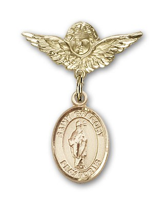 Pin Badge with St. Gregory the Great Charm and Angel with Smaller Wings Badge Pin - 14K Yellow Gold