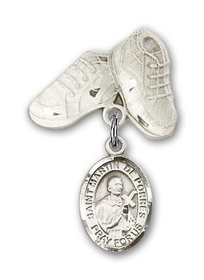 Pin Badge with St. Martin de Porres Charm and Baby Boots Pin - Silver tone
