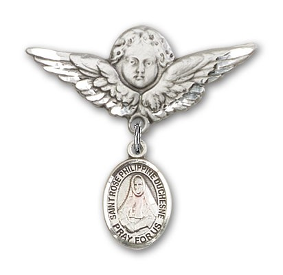 Pin Badge with St. Rose Philippine Charm and Angel with Larger Wings Badge Pin - Silver tone