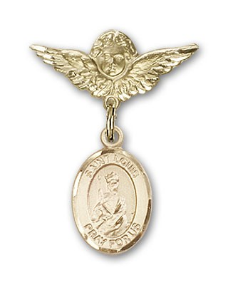 Pin Badge with St. Louis Charm and Angel with Smaller Wings Badge Pin - 14K Solid Gold