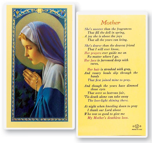 Mother Madonna Praying Rosary Laminated Prayer Cards 25 Pack - Full Color