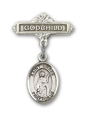 Pin Badge with St. Grace Charm and Godchild Badge Pin - Silver tone