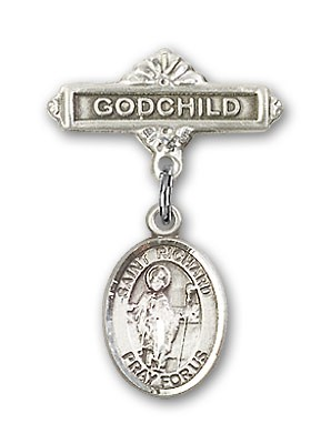 Pin Badge with St. Richard Charm and Godchild Badge Pin - Silver tone