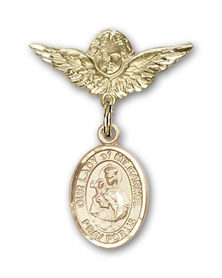 Pin Badge with Our Lady of Mount Carmel Charm and Angel with Smaller Wings Badge Pin - Gold Tone