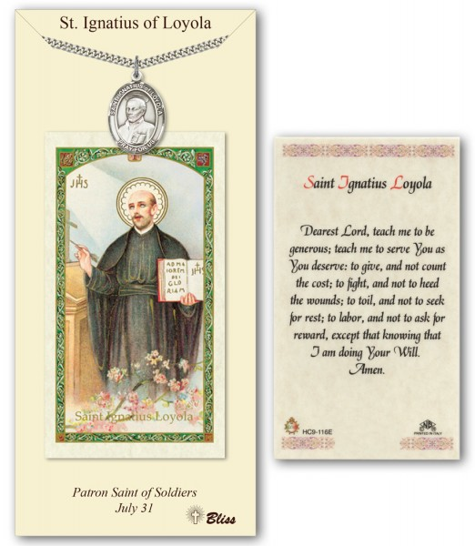 St. Ignatius of Loyola Medal in Pewter with Prayer Card - Silver tone