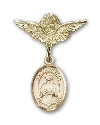 Pin Badge with St. Kateri Charm and Angel with Smaller Wings Badge Pin - 14K Yellow Gold