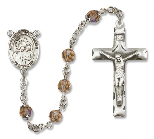 Our Lady of Good Counsel Sterling Silver Heirloom Rosary Squared Crucifix - Topaz