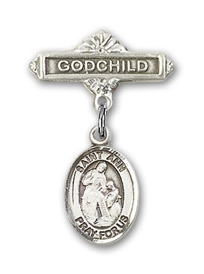 Pin Badge with St. Ann Charm and Godchild Badge Pin - Silver tone