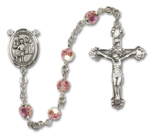 St. Vitus Rosary Heirloom Fancy Crucifix - Light Rose