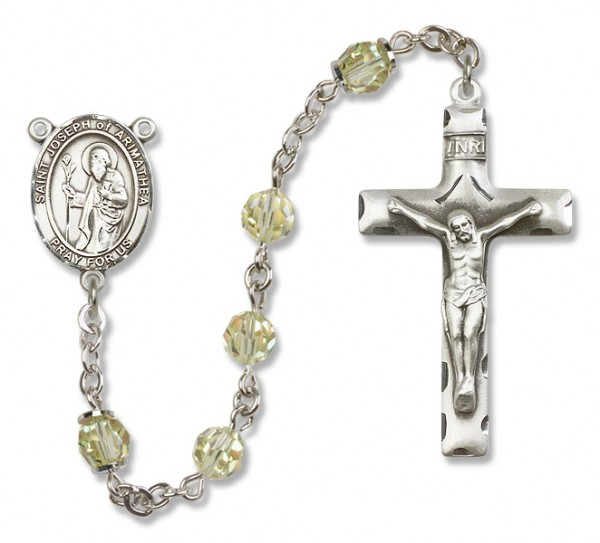St. Joseph of Arimathea Sterling Silver Heirloom Rosary Squared Crucifix - Jonquil