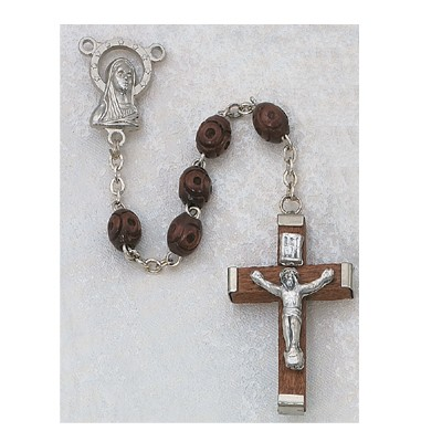 Men's Rosary with Carved Brown Wood Beads - Brown