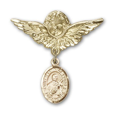 Pin Badge with St. Martin de Porres Charm and Angel with Larger Wings Badge Pin - 14K Solid Gold