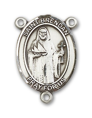 St. Brendan the Navigator NAVY Rosary Centerpiece Sterling Silver or Pewter - Sterling Silver