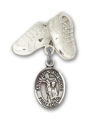 Pin Badge with St. Paul of the Cross Charm and Baby Boots Pin - Silver tone
