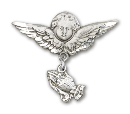 Baby Pin with Praying Hands Charm and Angel with Larger Wings Badge Pin - Silver tone