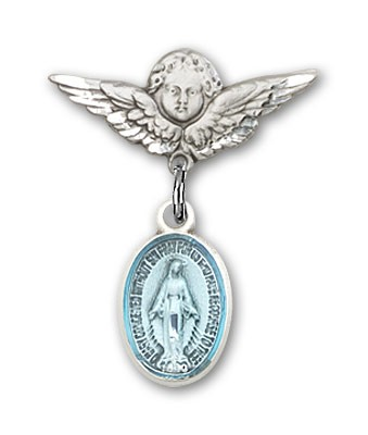 Baby Pin with Miraculous Charm and Angel with Smaller Wings Badge Pin - Silver | Blue