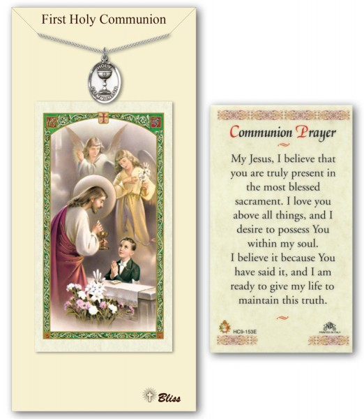 First Holy Communion Medal in Pewter with Prayer Card - Silver tone