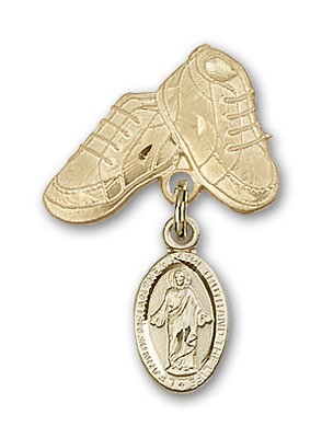 Baby Badge with Scapular Charm and Baby Boots Pin - 14K Yellow Gold