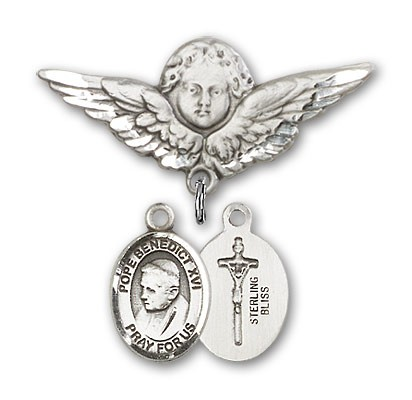 Pin Badge with Pope Benedict XVI Charm and Angel with Larger Wings Badge Pin - Silver tone