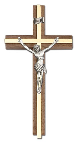 "Classic Crucifix Wall Cross in Walnut and Metal Inlay 6"" - Two-Tone Gold"