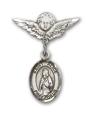 Pin Badge with St. Alice Charm and Angel with Smaller Wings Badge Pin - Silver tone