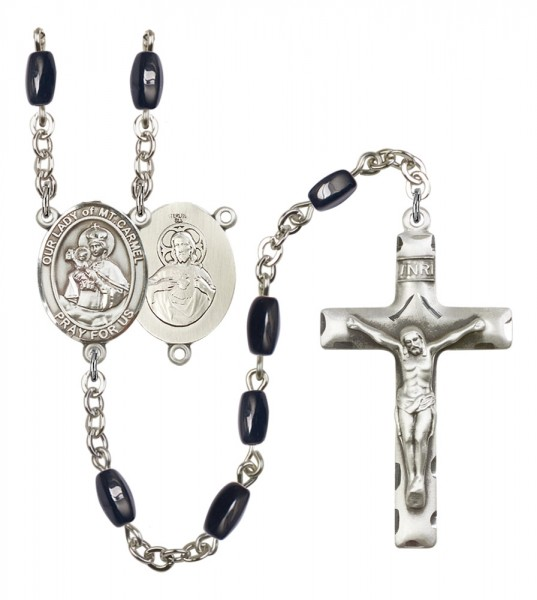 Men's Our Lady of Mount Carmel Silver Plated Rosary - Black | Silver