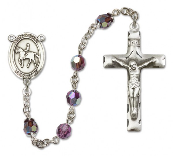 St. Kateri Rosary with Equestrian Heirloom Squared Crucifix - Amethyst