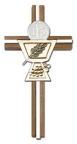 First Communion Chalice and Holy Host Wall Cross in Walnut Wood and Metal Inlay - 6 inch - Two-Tone Silver