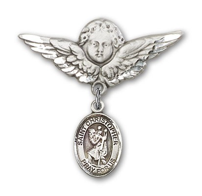 Pin Badge with St. Christopher Charm and Angel with Larger Wings Badge Pin - Silver tone