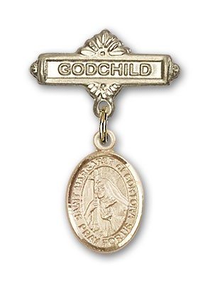 Pin Badge with St. Margaret of Cortona Charm and Godchild Badge Pin - Gold Tone