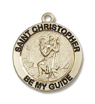 Women's Round St. Christopher Necklace - 14K Yellow Gold