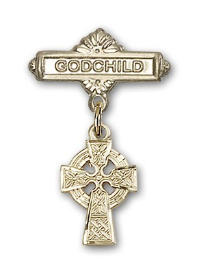 Baby Badge with Celtic Cross Charm and Godchild Badge Pin - Gold Tone