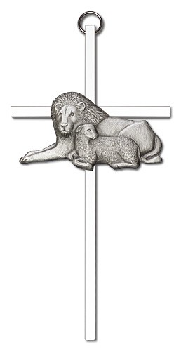 "Lion and Lamb Wall Cross 6"" - Silver tone"