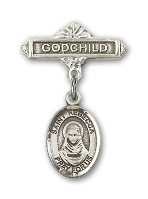 Pin Badge with St. Rebecca Charm and Godchild Badge Pin - Silver tone