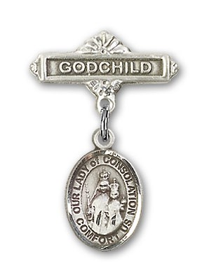 Baby Badge with Our Lady of Consolation Charm and Godchild Badge Pin - Silver tone