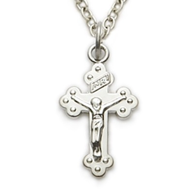 Sterling Silver Baby Budded Crucifix Necklace - Silver