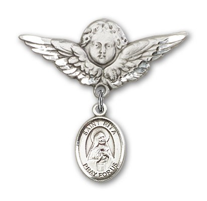 Pin Badge with St. Rita of Cascia Charm and Angel with Larger Wings Badge Pin - Silver tone