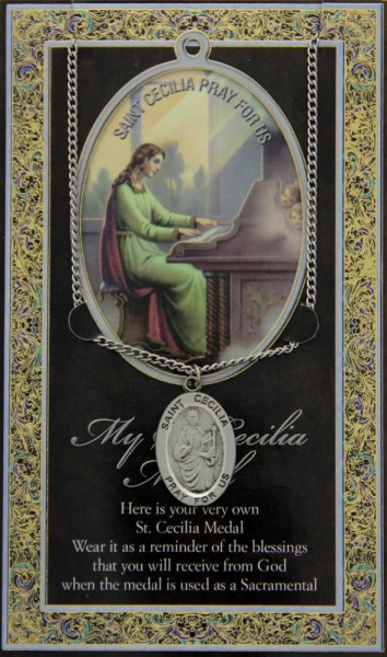 St. Cecilia Medal in Pewter with Bi-Fold Prayer Card - Silver tone