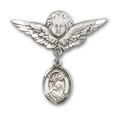 Pin Badge with St. Kevin Charm and Angel with Larger Wings Badge Pin - Silver tone