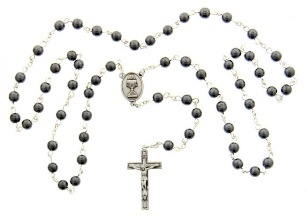 First Communion Hematite Rosary with Chalice Centerpiece - Silver