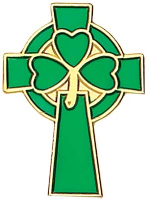 "Celtic Clover Cross Lapel Pin - 1"" - Green 