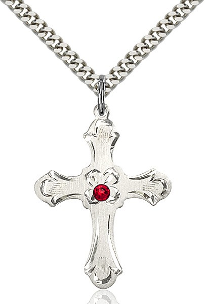 Budded Cross Pendant with Etched Border Birthstone Options - Ruby Red