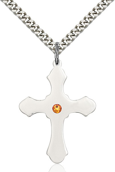 Large High Polished Soft Edge Cross Pendant with Birthstone Options - Topaz