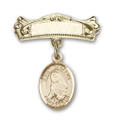 Pin Badge with St. Madeline Sophie Barat Charm and Arched Polished Engravable Badge Pin - 14K Solid Gold