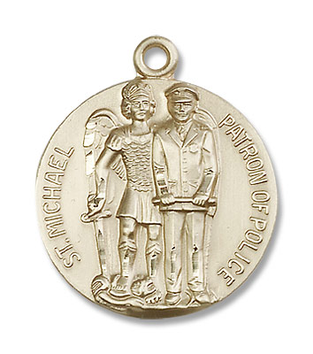 Men's St. Michael Police Officer Medal - 14K Solid Gold