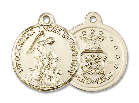 Guardian Angel Air Force Medal - 14K Yellow Gold