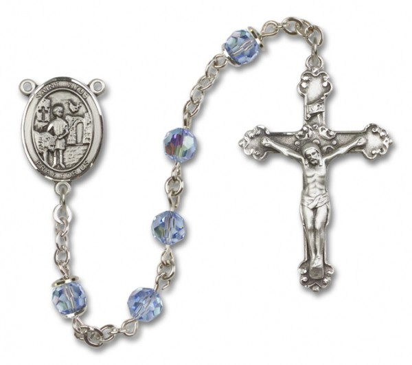 St. Vitus Rosary Heirloom Fancy Crucifix - Light Sapphire