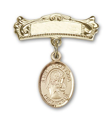 Pin Badge with St. Apollonia Charm and Arched Polished Engravable Badge Pin - 14K Yellow Gold