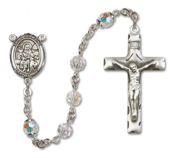 St. Germaine Cousin Sterling Silver Heirloom Rosary Squared Crucifix - Crystal